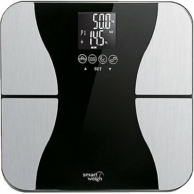 Smart Weigh Digital Body Weight Scale with Tempered Glass, 440 pounds, Black