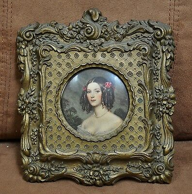 Vintage Miniature Portrait Picture of Girl in Ornate Frame