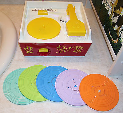 Vintage Fisher-Price Music Box Record Playercomplete With 5 Records