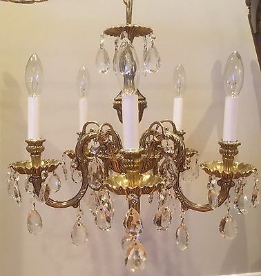 Exquisite Vintage Petite Swedish Brass Crystal Chandelier