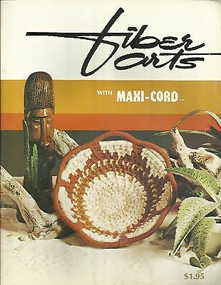 Fiber Arts #1 with Maxi-Cord Vintage Pattern Book NEW Weaving Crochet Basketry