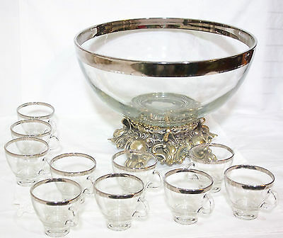 Vintage PITMAN DREITZER glass punch bowl set with 10 cups BASE STAND CHRISTMAS