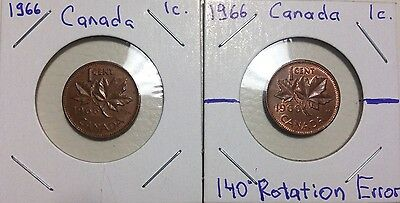 1966 1 Penny Canada Error Cent! Major Rotated Die Error Coin! Rotation Die 140%!