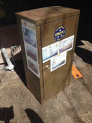Old Rusty Metal Locker Gun Box War Themed Lovely Antique Stickers Some Corrosion