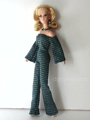 Francie Barbie Doll Clothes Handmade Mod JUMPSUIT  JEWELRY Fashion Casey NO DOLL