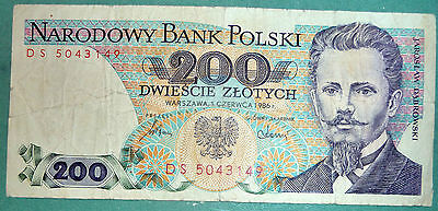 POLAND 200  ZLOTYCH NOTE , P 144 c, ISSUED 01.06.1986,
