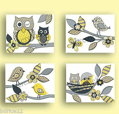 Yellow Gray Nursery Owl Bird Bedding Kids Baby Wall Art Decor Girl Print Chevron