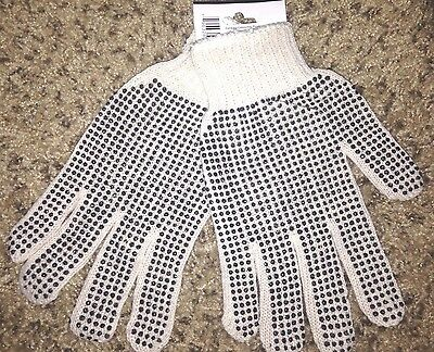 12 Pair Pack Double Side PVC Dotted (Polka) Cotton Industrial & Work Gloves L