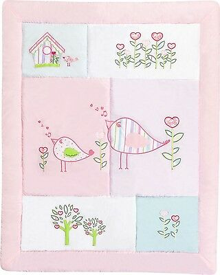 New All Seasons Baby Cot Quilt Pink Birdhouse Designer Print