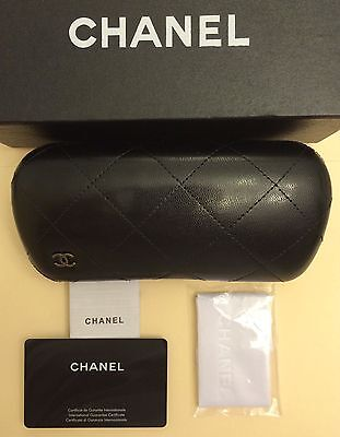 Authentic CHANEL Quilted Black Leather Eyeglasses Sunglasses Hard Case Brand New