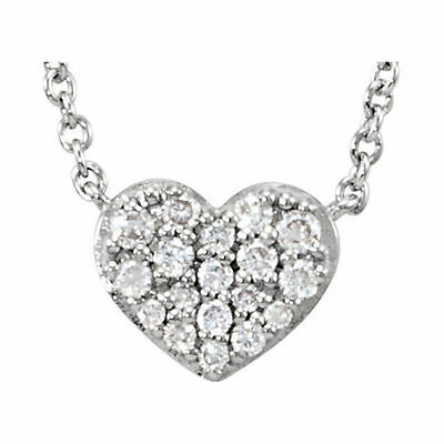 """Diamond Heart 18"""" Necklace In Sterling Silver (1/10 ct. tw.)"""