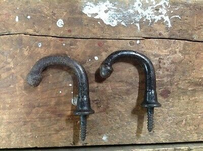 2 Antique Iron Victorian Hat or Coat Hooks