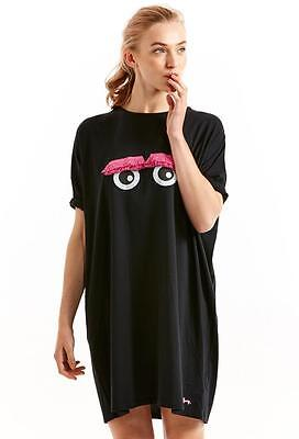 Ladies Womens Summer Nightie Peter Alexander Sleepwear Black Soft Pink Eyes NEW