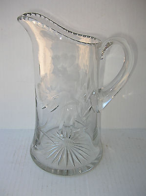 "Vintage 11"" Hi Wheel Etched Crystal Glass Pitcher Applied Handle Beverage Bar"