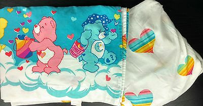 Care Bears Twin Sheet Set Fitted Flat Hearts 2002 Funshine Love-a-Lot Bedtime