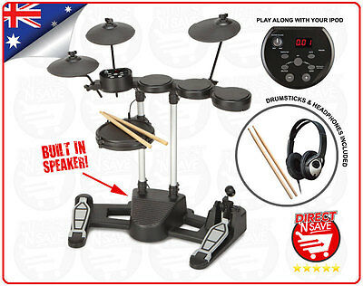 Electronic Drumkit Digital Full Kit Headphones USB AUX Input Built in Speaker