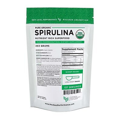 Spirulina USDA Powder 1lb (16oz) -Organic -Fat Burner -nonGMO -NGP