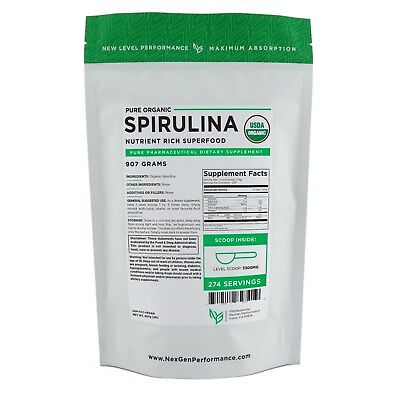 Spirulina USDA Powder 2lb (32oz) -100% Pure -Organic -Fat Burner -nonGMO