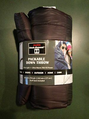 NEW! Double Black Diamond Ultra-Light Weight 700 Goose Down Blanket Throw Quilt