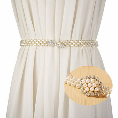 New  Women Lady pearl Crystal flower Wide Elastic Stretch Waistband Waist Belt
