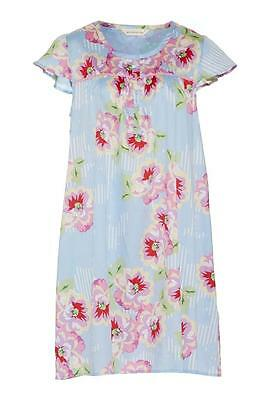 Peter Alexander Ladies Womens Summer Blue Floral Nightie 100% Cotton Sleepwear