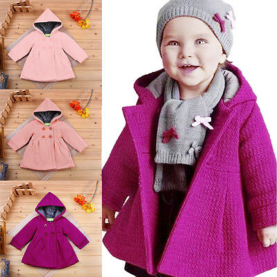 Toddler Baby Girl Kid Hooded Coat Jacket Winter Warm Outerwear Long Parka 12M-3Y