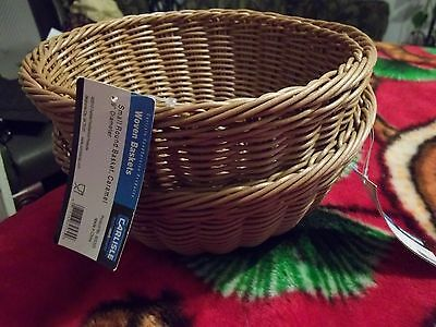 "Lot of 2 New Carlisle Food Service Products 9"" Dia. Round Basket Bowl Caramel"