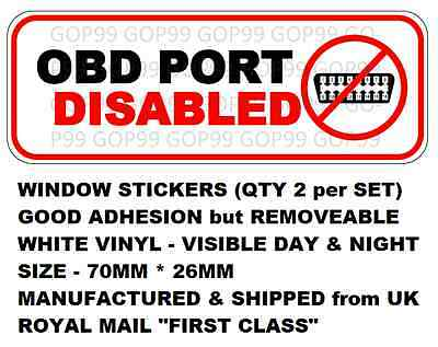 2 x OBD PORT DISABLED / IMMOBILISED window stickers FORD, RS, ST