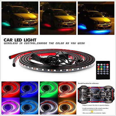 LED Strip Under Car Tube Underglow Underbody Glow System Neon Light Kit + Remote