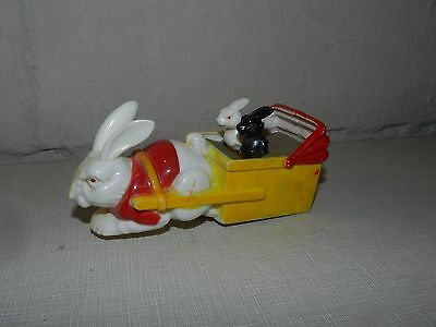 Vtg Hard Plastic Bunny Rabbit Mechanical Cart Toy Missing Wheels Easter Candy