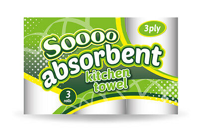 Kitchen Rolls 3ply - 24, 48, 72 or 96 Pack