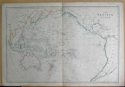 1860  Large Antique Map - The Pacific Ocean