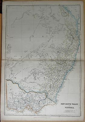 1860  Large Antique Map - New South Wales And Victoria