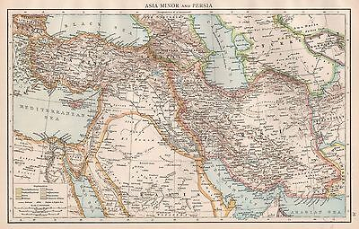 1896  Large Antique  Map : Asia Minor And Persia