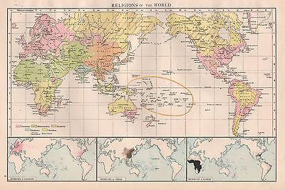1896  Large Antique  Map : World Map, Religions Of The World