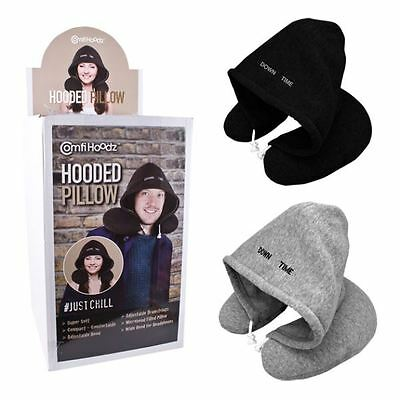 Down Time Hoody Travel Pillow Flight Neck Rest Nap Sleeping Cushion Journey Gift