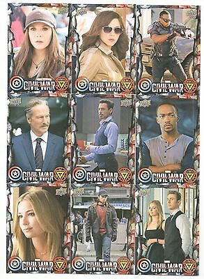 2016 Upper Deck Captain America Civil War Base + 6 Insert Complete 110 Card Set