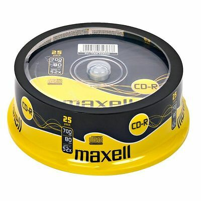 25 Cdr Maxell Blank Discs Cd-R Recordable Cd 80 Mins 52X 700Mb
