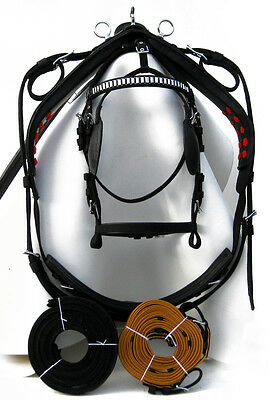 Quality Nylon Driving Harness for single horse black color/Gold color reins,PONY