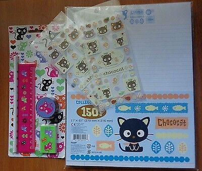 New! Sanrio Chococat 150 College Ruled Notebook Paper & Chococat Stickers Japan