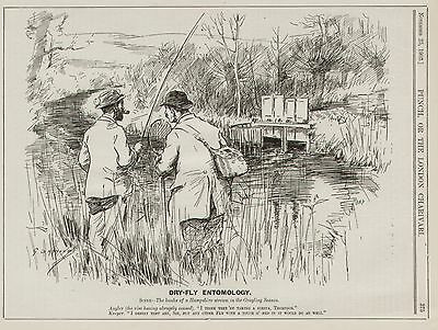 Vintage Cartoon Punch 1903 - Sport Fish Dry Fly Fishing Grayling by Armour 8x10