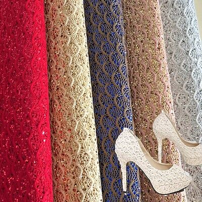 Sparkle Lace Scalloped Chunky Glitter Fabric Vinyl Craft Bows Material Sheet Lot
