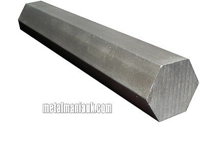 "Hexagon steel bright bar EN1A leaded 7/16""AF x 500mm long approx"