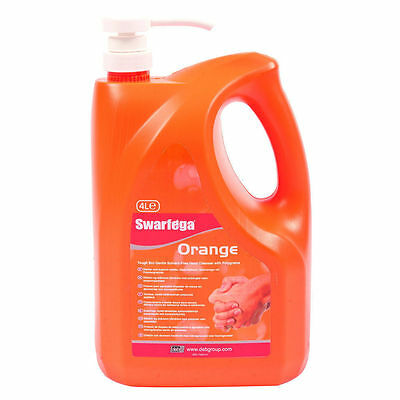 Swarfega 4L Orange Pump / Hand Cleaner Garage Natural Cleanse Oil Muck Residue