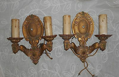 Pair (2) Art Deco Neo Gothic Cast Metal Electric Sconces Polychrome Paint