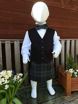 BabyTartan Kilt & Bowtie With Black Waistcoat  Various Sizes & Tartans Available