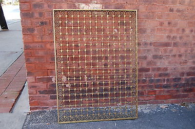 Antique Architectural Salvage Iron Window  Panel Fence Old Gold Paint 42 X 31