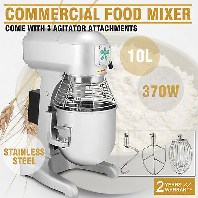 10 Quart Dough Food Stand Mixer Heavy Duty Restaurants Commercial 3 Speed
