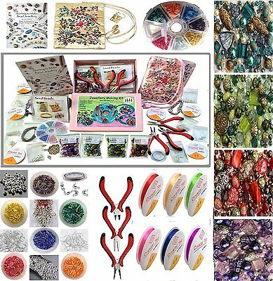 Jewellery Making Beads Mix Pliers Findings Starter Kit DIY Hobby Crafts Gift Set