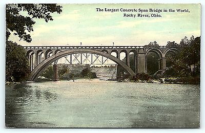Postcard OH Rocky River 1911 Largest Concrete Span Bridge in the World
